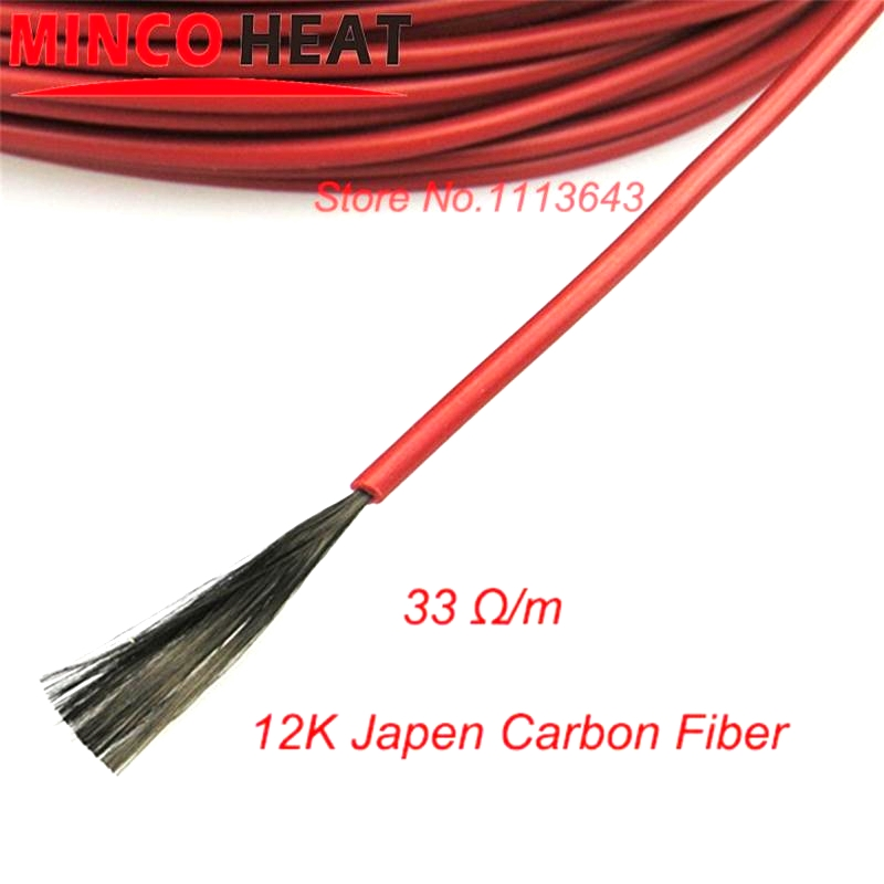 500 METERS 12K 33 Ohm/m Silicone rubber Insulating materials Carbon Fiber Heating Infrared Floor Heating Cable
