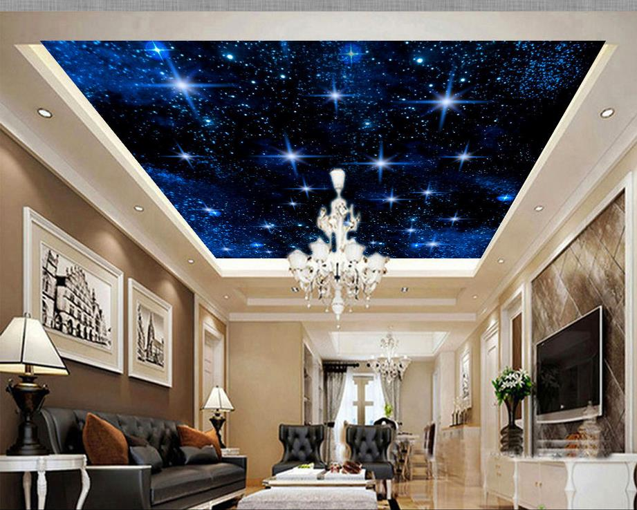 Popular night sky ceiling wallpaper buy cheap night sky for Ceiling mural in a smoker s lounge