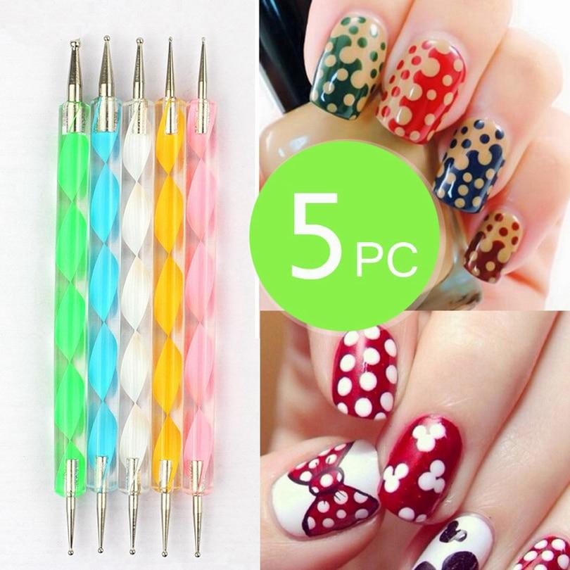 Brainbow 5pcs 2 Way Nail Art Dotting Pens Nail Polish Pen Drill ...