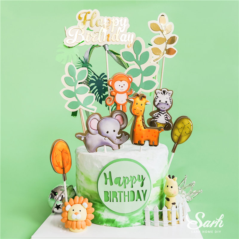 Bling Elephant Animals Cake Topper Happy Birthday Gold Decoration For Children's Day Party Supplies Boy Girl Baking Sweet Gifts