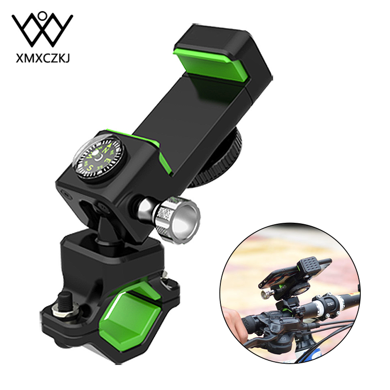 XMXCZKJ Bike Motorcycle Handlebar Mobile Phone Mount Bicycle Holder Cycling Stand Clamp Holder Waterproof Compass For IPhone X 8