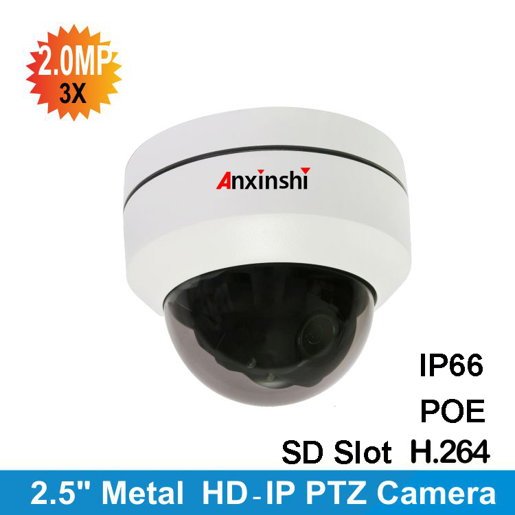 2.5 inch1080P H.264 IP Audio POE Mini PTZ camera autofocus IP camera 3X zoom Day/Night IR 30M night verison vandalproof PTcamera удлинитель zoom ecm 3