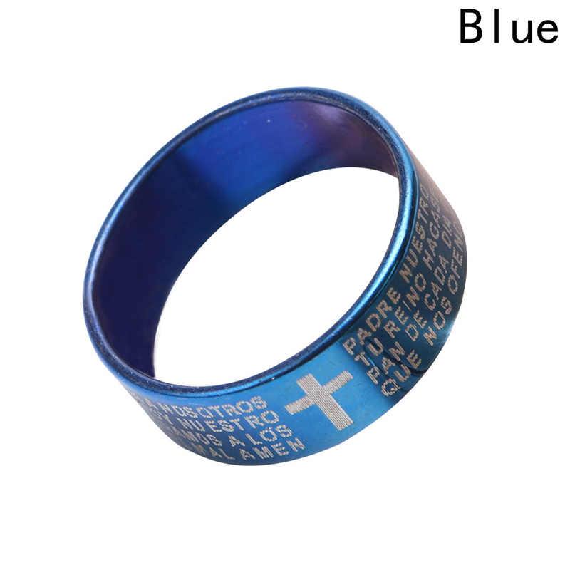 Clássico biblico cruz anel de titânio aço jóias legal pai fr. dedo anéis azul feminino masculino três cores