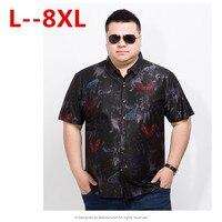 10XL 8XL 6XL 5X Men Casual Shirt Summer European Style New High Quality Fashion Floral Printed Short Sleeve Business Male Shirts