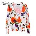 Самый Дешевый женская оранжевый цветочный кардиган Плюс размер Моды свитер вязаный верхняя одежда пальто Бесплатная Доставка WS-015