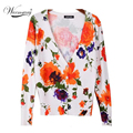 O Mais Barato laranja floral cardigan das mulheres Plus Size Moda camisola de malha casaco outerwear Frete Grátis WS-015