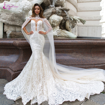 Waulizane Sweetheart With Shawl Sleeveless Mermaid Wedding Dress Sheer Neck Lace Beading Wedding Gowns