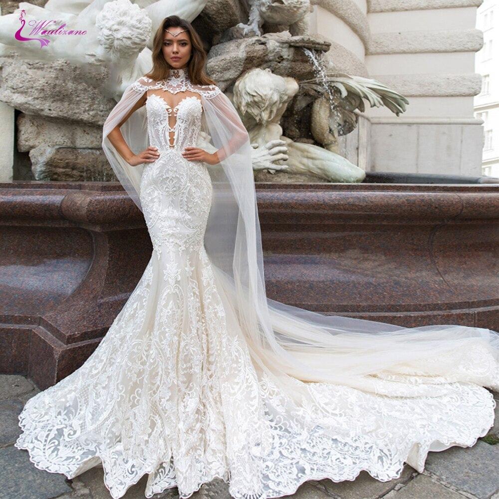 Querida com Xaile Vestido de Noiva Vestidos de Casamento Waulizane Mangas Mermaid Sheer Neck Lace Beading