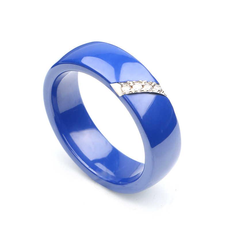 Новинка 6 мм Керамика со стразами кольцо кубический цирконий камень черный и белый цвет женские ювелирные изделия обручальное кольцо Подарки для женщин