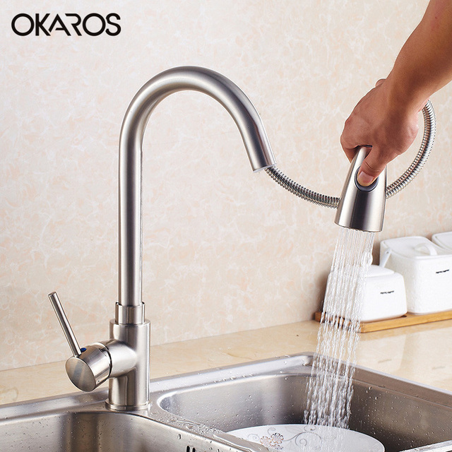 water filter for pull down faucet. OKAROS Pull Out Down Kitchen Flexible Faucet Brass Nickle Brush Black Baked Water  Filter Vessel