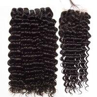 Deep Wave 3 Bundles With Closure Human Hair Bundles With Closure Brazilian Hair Weave Bundles ALIPOP