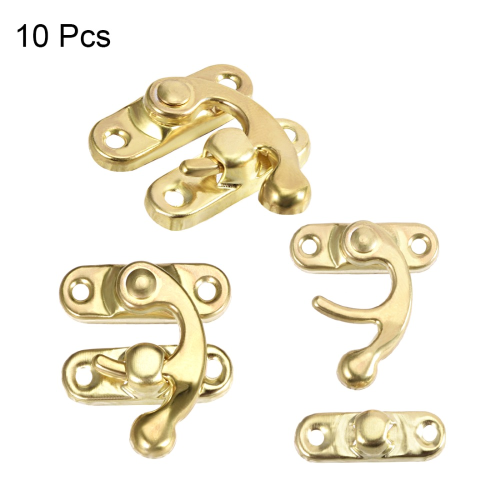 Swing Arm Latch Golden Plated 50 Pcs w Screws uxcell Antique Right Latch Hook Hasp