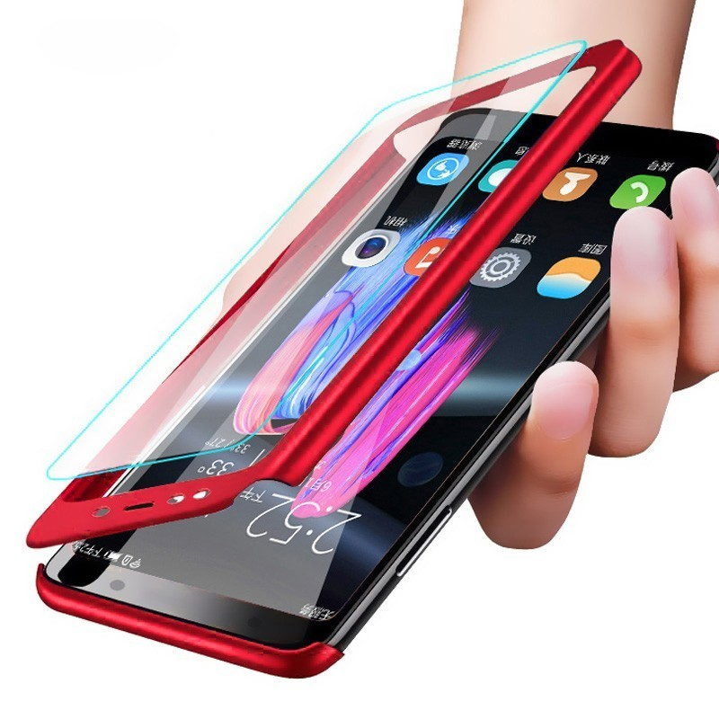 360 Full Cover Protection Case On For Samsung Galaxy A7 2018 Cover For Samsung Galaxy A7 2018 SM-A750F Case With Tempered Glass