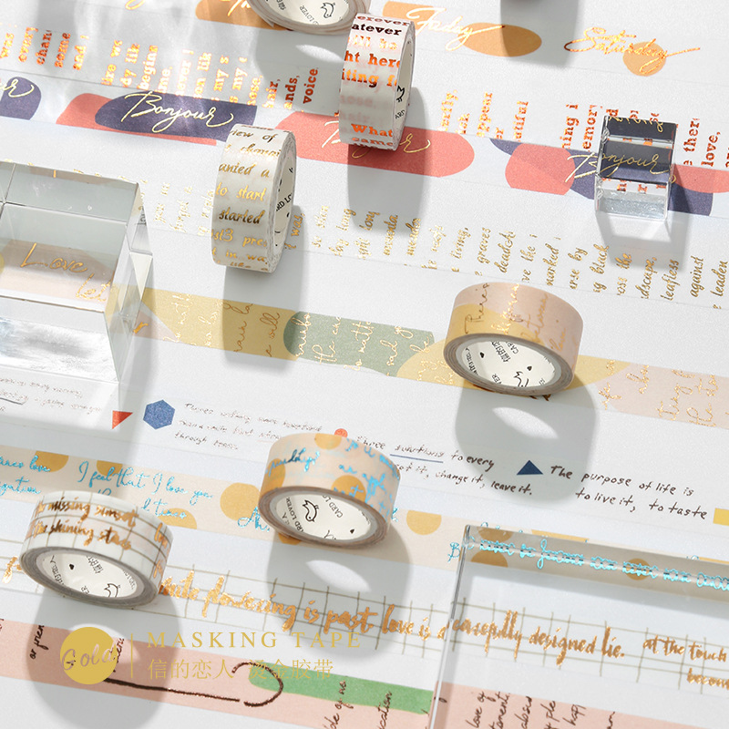 15mm 5m Gold Letters Foil Masking Washi Tape Scrapbooking Creative DIY Journal Decorative Adhesive Tape Stationery Supplies in Office Adhesive Tape from Office School Supplies