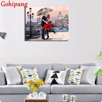 Kissing Lover Oil Painting By Numbers On Canvas DIY Handpainted Romantic Painting Coloring By Numbers New