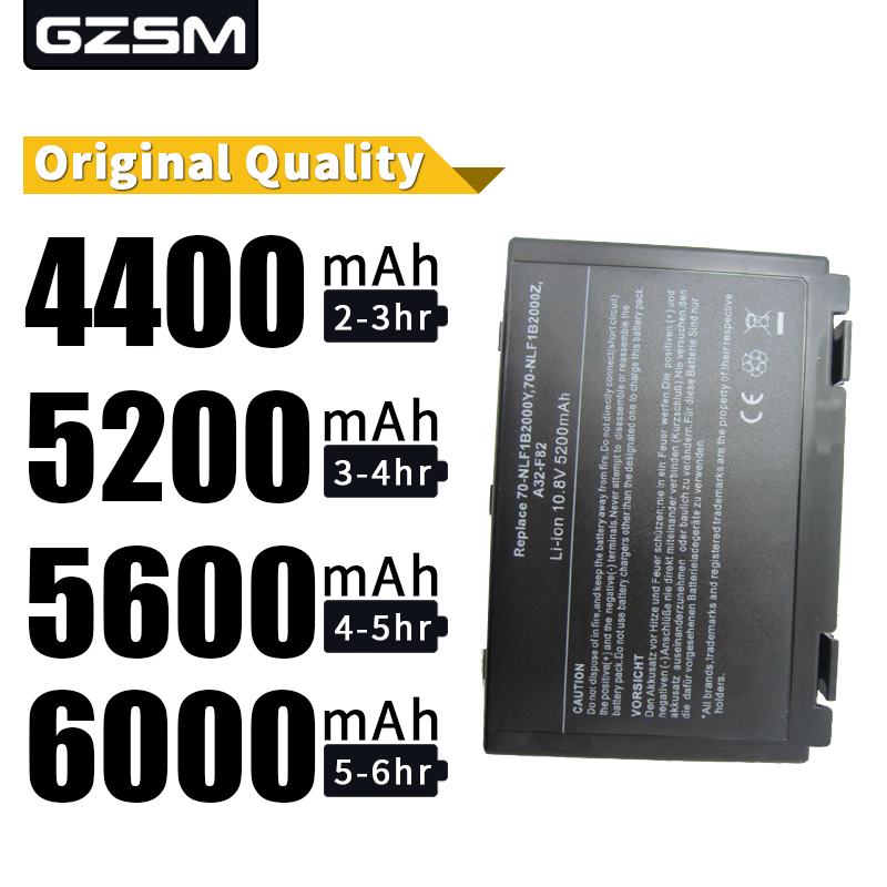 HSW 5200mah Laptop Battery  for Asus k50in K40 F82 A32 Battery for Laptop F52 K50 K60 L0690L6 A32-F82 k40in k40af k50ij  battery