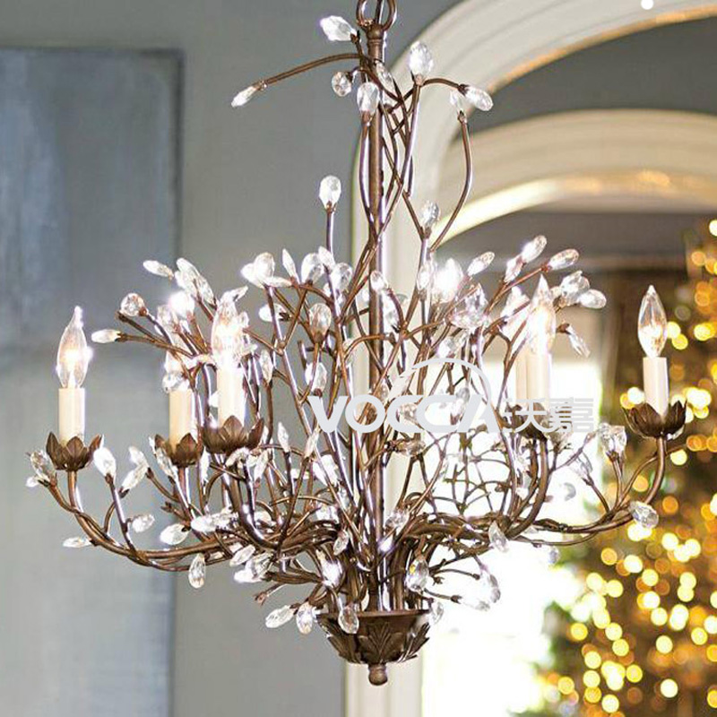 American country European crystal chandeliers retro living room dining room bedroom branches wrought iron chandeliers LU01 european chandeliers bedroom living room dining hanging lighting fixtures wrought iron black art retro chandelier e27
