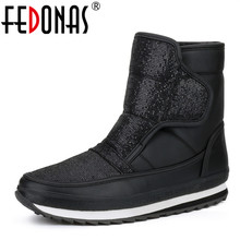 FEDONAS 2019 Brand Women's Winter Shoes Warm Platforms Snow Boots Fashion Ladies Casual Shoes Woman Mid Calf High Boots Big Size(China)