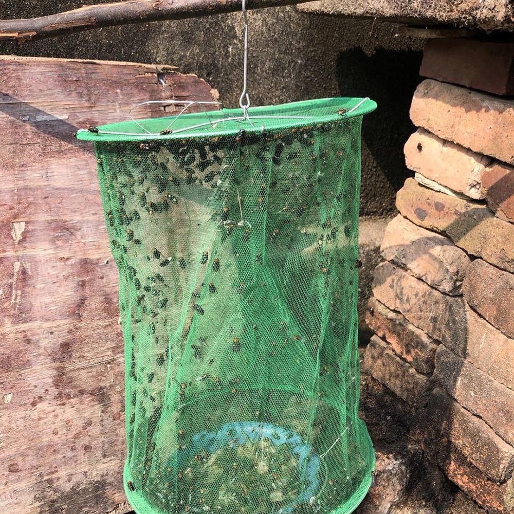 1PCS Hanging Flycatcher Reusable Pest Detector Fly Killer Flies Trap Cage Subnet Capture Home Garden Supplies