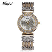 2018 New Butterfly Women Gold   Watches   Luxury Rhinestone Wristwatch Lady Crystal   Dress     Watches   Female Waterproof Quartz   Watch