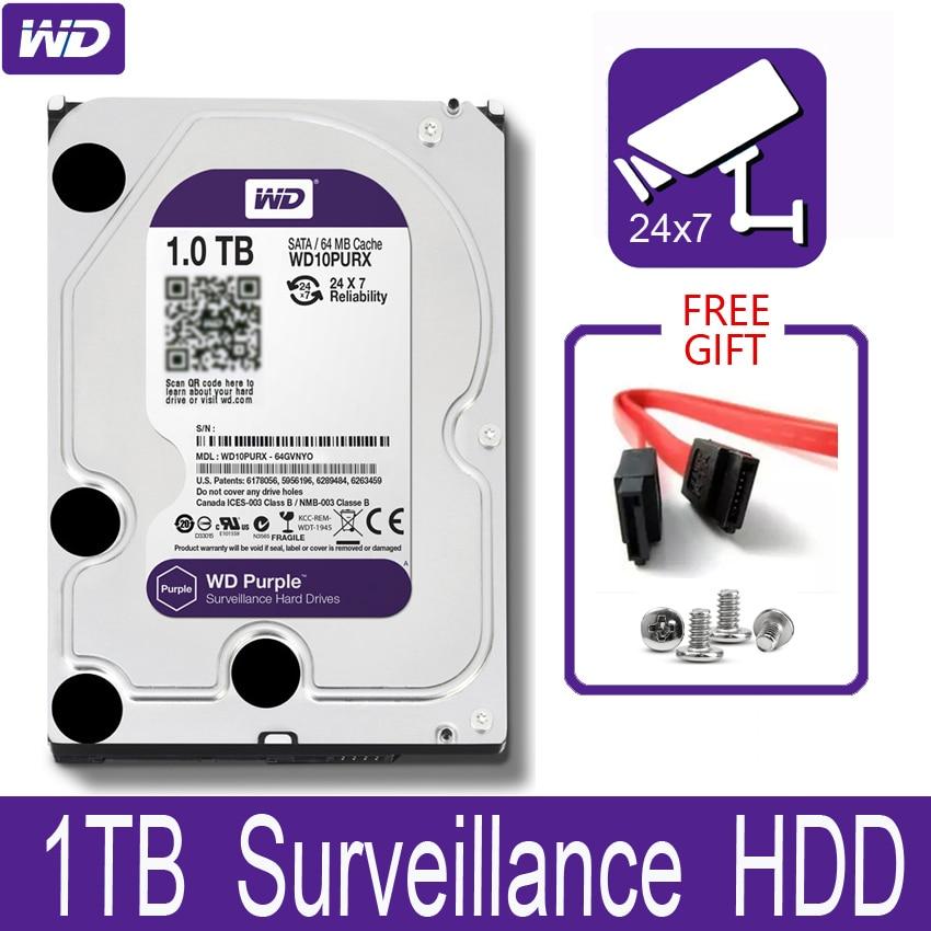 WD Purple 1TB Surveillance Internal Hard Drive Disk 3 5 64M Cache SATA III 6Gb s