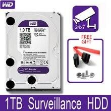 """WD الأرجواني 1 تيرا بايت مراقبة محرك الأقراص الصلبة الداخلي القرص 3.5 """"64 متر مخبأ SATA III 6 جيجابايت/ثانية 1T 1000 جيجابايت HDD HD القرص الصلب ل CCTV DVR NVR"""