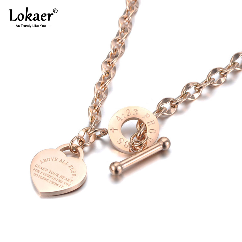 Lokaer Titanium Stainless Steel Heart Charm Pendant Necklaces Jewelry Classic Love Bible Proverbs 4:23 O-Chain Necklace N19085 1