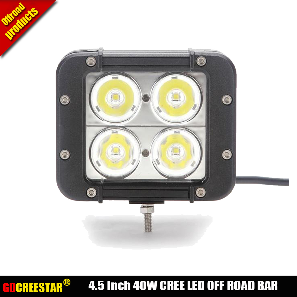 4.5 INCH 40W LED WORK LIGHT BAR Dual Row Led Driving light bar FOR TRUCKS 4WD BMW 4X4 OFFROAD SPOT Flood BEAM 10W LEDS CHIP x1pc 10w led 60 degrees flood beam work light w cree xml t6 10 30v