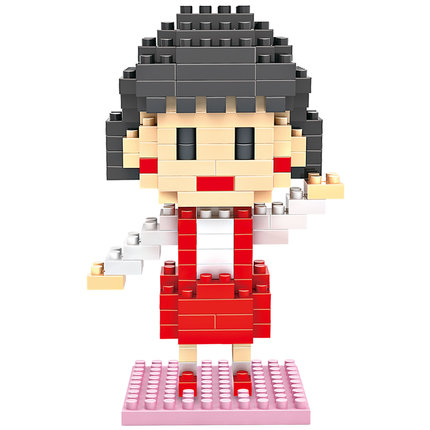 Loz gruond building font b blocks b font minifigures Chibi Maruko chan cartoon anime models plastic