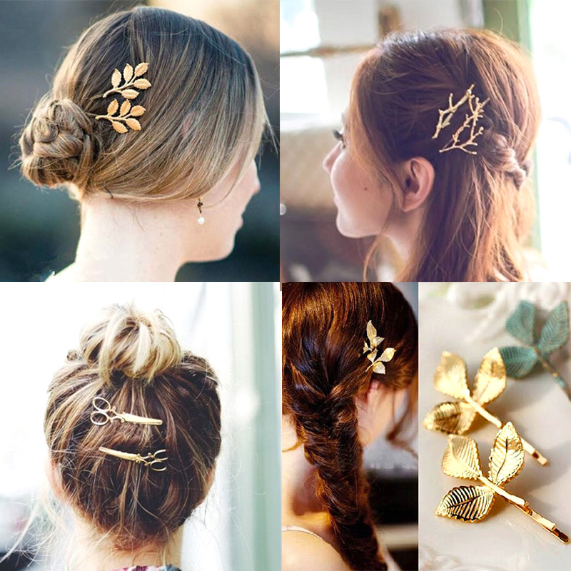 New Vintage Style Leaf Hair Clip Women Lady Girls Scissors Hairclip Hairpins Claw Leaves Barrette Hair Accessories Gold Silver