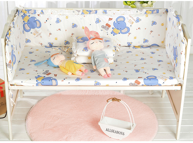 5PCS Cotton Crib Bed Linen Kit Cartoon Baby Bedding Set Crib Bedding Set Bed Linen, (4bumper+sheet) 5pcs embroidery cotton crib bed linen kit cartoon baby cot bedding set bed sheet include 4bumper bed cover