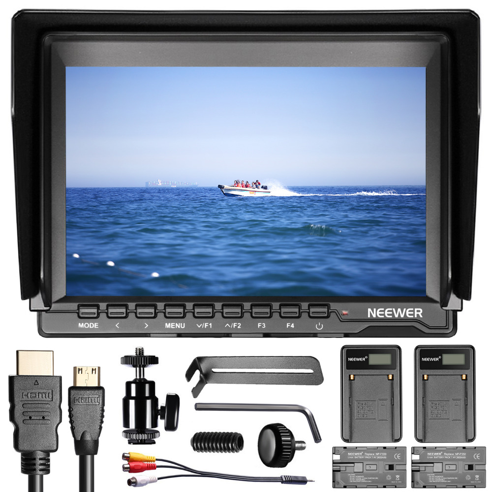 Neewer NW74K 7 Inches Ultra HD Screen Camera Field MonitorF550 Replacement and USB Battery for Sony Canon Nikon Olympus Pentax meike mk d750 battery grip pack for nikon d750 dslr camera replacement mb d16 as en el15 battery