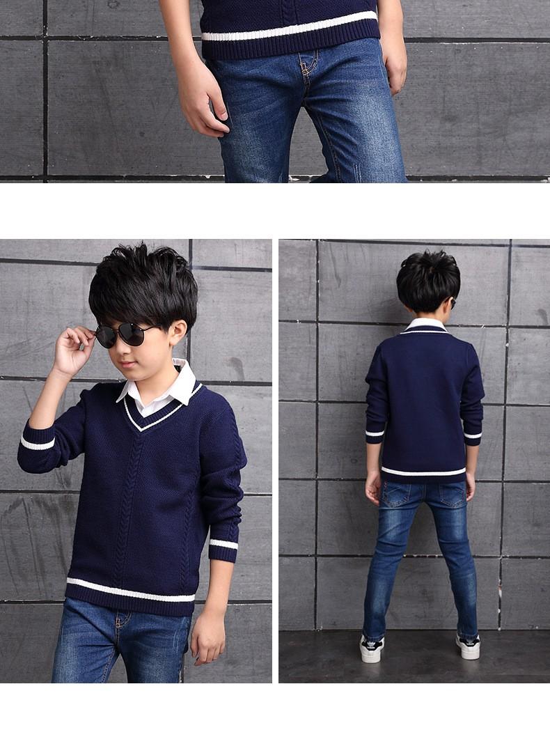 HTB1H4bIOXXXXXb5XFXXq6xXFXXXr - 2017 Children's sweater Winter new  Keep warm Cashmere boy sweater V-collar Kids for boys Children's clothing Winter clothing