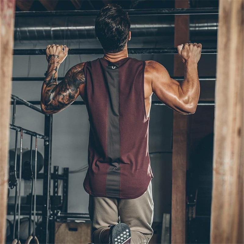 2019 Summer Newest Brand Mens Curved Hem Patchwork Gyms Stringers Vest Bodybuilding Clothing Fitness Man Tanks Tops