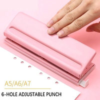 Creative Adjustable 6 Hole Punch Handmade Paper Punch 3 Hole 4 Holes Metal Circle Punch Machine