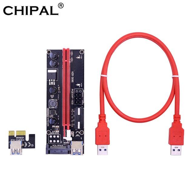 CHIPAL двойной светодиодный VER009S PCI Express 1X к 16X переходная карта pci-e карта 4Pin 6Pin SATA molex разъем питания 60 см USB 3,0 кабель для Bitcoin Miner