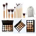 11 PCS High quality wood make up Brushes + 1 PCS 15 color Concealer palette makeup set cosmetics tools for Women M02408