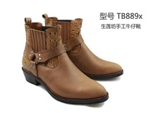 2016 Hot Sale Special Offer Men Ankle Boots Botas Mujer Pure Handmade Men's Shoes Western Boots Riding Tb889 Genuine Cowboy
