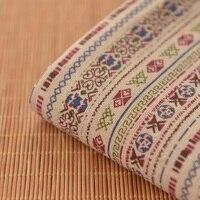Beige Striped Cotton Cloth National Wind Original Clothing Apparel Fabrics Soft Dress