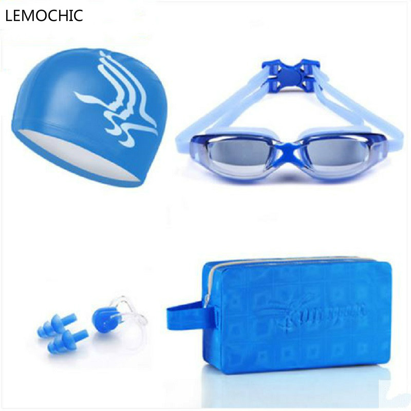 High quality FemaleHD waterproof anti fog goggles myopia swimming goggles swimming bag cap nose clip kit earplugs swimming suit