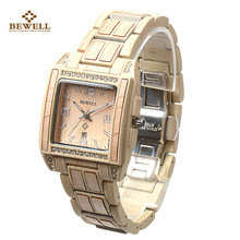 BEWELL Wood Quartz Luxury Watches with Diamonds Male Fashion Casual Watches for Mens Wooden Watches Canada Christmas Gift 1056A(China)