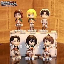 Free Shipping Attack on Titan Eren Mikasa Armin Rivaille Cute Mini PVC Action Figures Toys Dolls 6pcs/set ATFG054