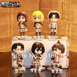 Image 1 - Miễn phí Vận Chuyển Tấn Công Titan Eren Mikasa Armin Rivaille Dễ Thương Mini Action Figures PVC Đồ Chơi Búp Bê 6 cái/bộ ATFG054