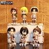 התקפת משלוח חינם על טיטאן ערן Mikasa ארמין Rivaille חמוד מיני PVC פעולה דמויות בובות צעצועים 6 יח\סט ATFG054