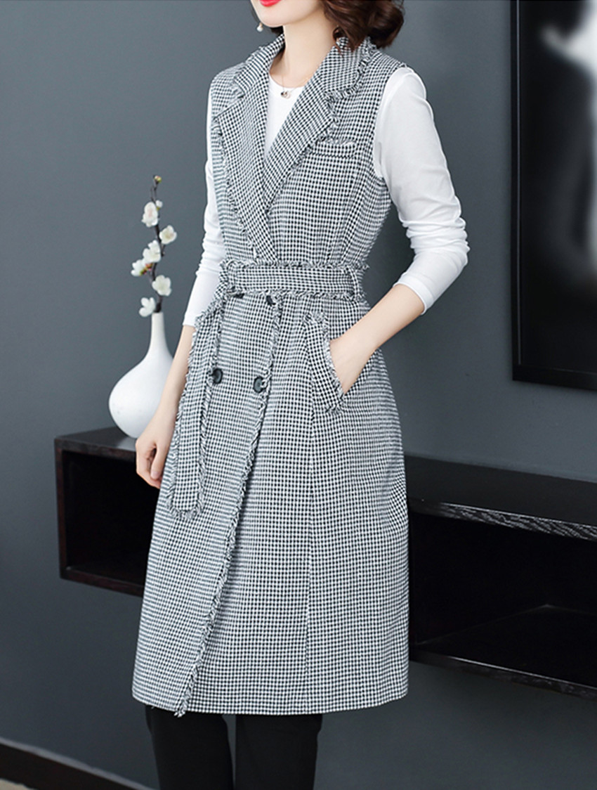 6804225c189 ... HAMALIEL Houndstooth Tweed Sleeveless Women Dress Runway Autumn Winter  Double-Breasted Plaid Vest Notched Collar ...