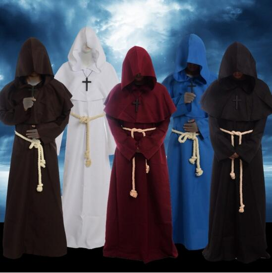Medieval Cosplay Costume Halloween Renaissance Monk Priest Clothing Cape Robe Cloak Women Men Medieval Dress Costume
