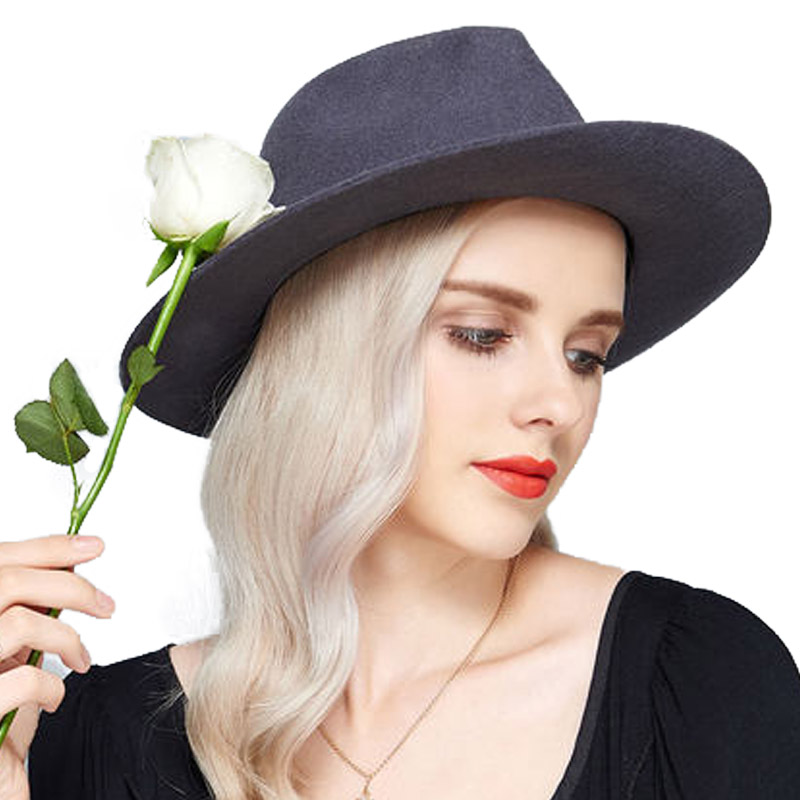 FS Fedora Hat Ladies Winter 100% Wool Felt Hats Jazz Gangster Caps Vintage  Elegant Church ... 248a2bdf8f8
