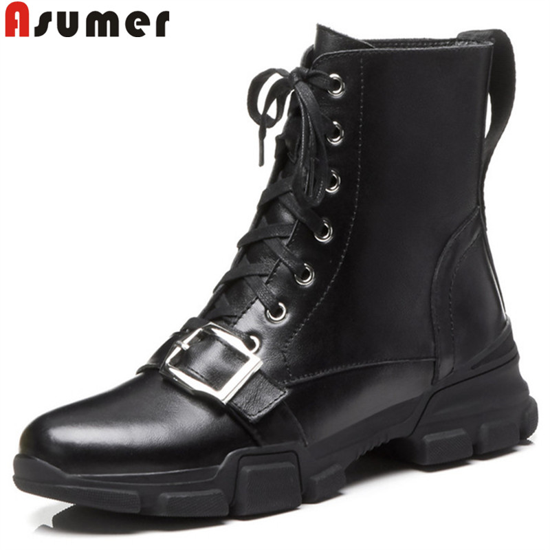 ASUMER black fashion ankle boots for women round toe zip lace up genuine leather boots med heels ladies prom autumn winter boots mac dazzleglass блеск для губ boys go crazy