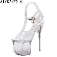 Женские Прозрачные Сандалии AIYKAZYSDL из ПВХ, туфли с ремешком на щиколотке на платформе и очень высоком каблуке-шпильке, Фетиш обувь