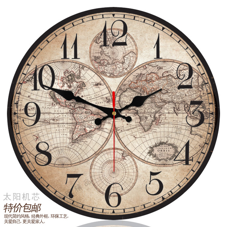Fashion World Map Wall Clock Home Decor Sun Movement Silent Wall ...